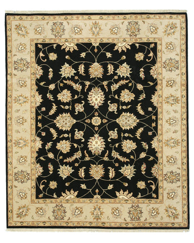 Hand-knotted Wool Black Traditional Oriental Agra Rug (8'3 x 9'9)
