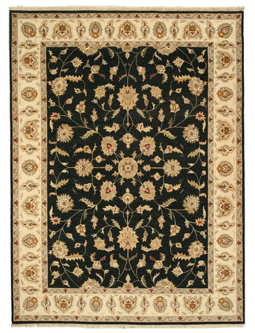 Hand-knotted Wool Black Traditional Oriental Agra Rug