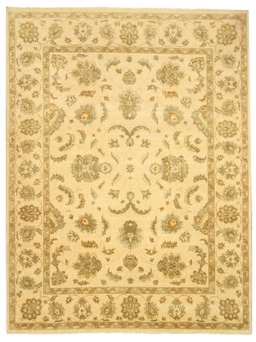 Hand-knotted Wool Ivory Traditional Oriental Agra Rug