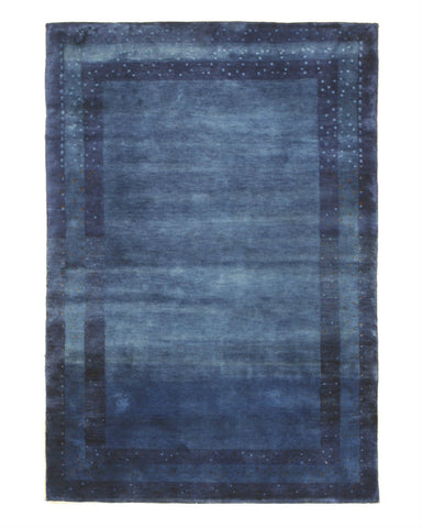 Hand-knotted Wool Blue Traditional Solid Lori Baft Gabbeh Rug (4'1 x 5'11)