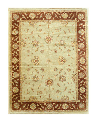 Mint green/brown Hand-knotted Wool Traditional Agra Rug
