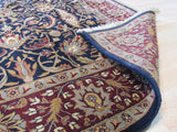 Navy/burgundy Hand-knotted Wool Traditional Agra Rug