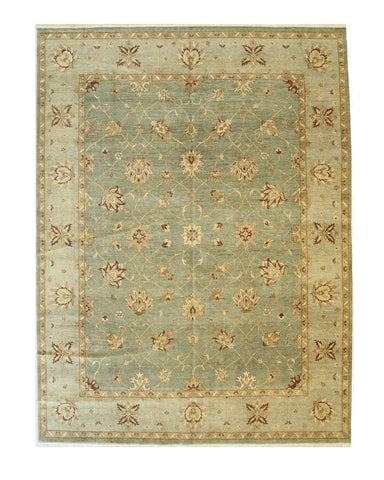 Apple-green Hand-knotted Wool Traditional Agra Rug