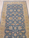 Blue/gold Hand-knotted Wool Traditional Oriental Agra Rug