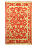 Hand-knotted Wool Red Traditional Oriental Agra Rug (5'8 x 9')
