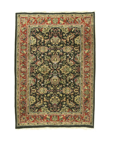 Hand-knotted Wool Black Traditional Oriental Jaipur Rug (4'3 x 6')