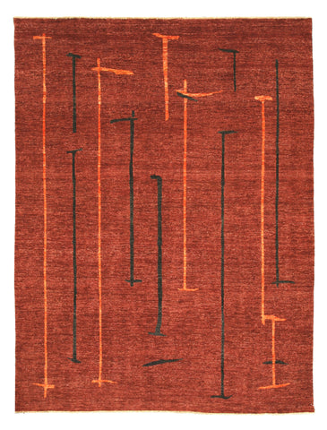 Hand-knotted Wool Red Contemporary Abstract Peshawar Rug
