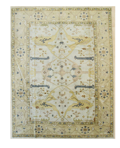 Hand-knotted Wool Ivory Traditional Oriental Oushak Rug
