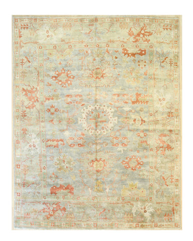 Powder blue/orange Hand-knotted Wool Traditional Oushak Rug