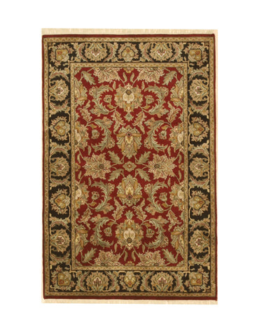 Hand-knotted Wool Red Traditional Oriental Jaipur Rug (3'11 x 6')