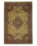 Hand-knotted Wool Gold Traditional Oriental Medallion Mahal Rug (9'7 x 13'11)