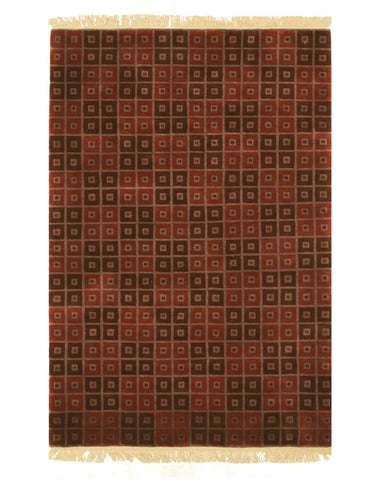 Hand-knotted Wool Red Contemporary Abstract Nepalese Rug (4'0 x 5'10)