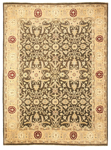 Hand-knotted Wool Brown Traditional Oriental Peshawar Rug