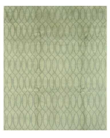 Hand-knotted Wool Green Transitional Floral Indo-Nepalese Rug (8'1 x 9'10)