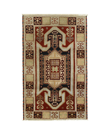 Hand-knotted Wool Red Traditional Geometric Kazak Rug