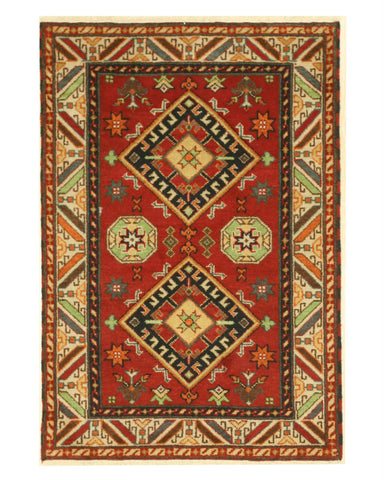 Hand-knotted Wool Red Traditional Geometric Kazak Rug (4'2 x 6'0)