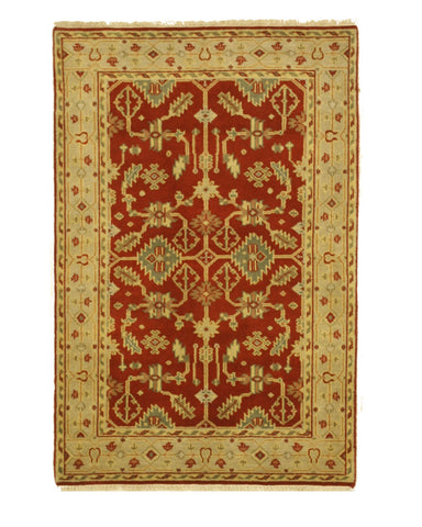 Hand-knotted Wool Red Traditional Oriental Mahal Rug (4'0 x 6'0)