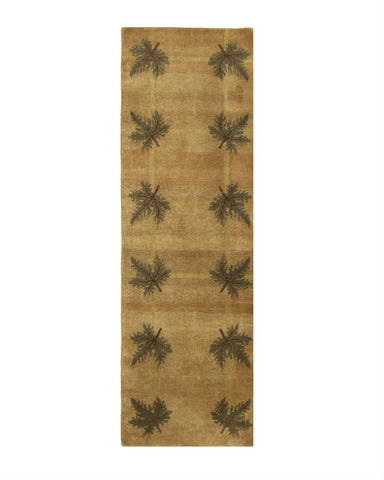 Brown/green Hand-knotted Wool Traditional Palms Rug
