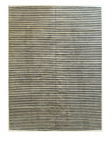 Beige/charcoal Hand-knotted Wool Transitional Striped Rug