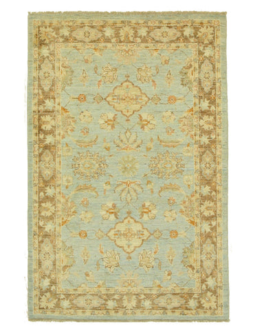 Hand-knotted Wool Blue Traditional Oriental Peshawar Rug (4'1 x 6'2)