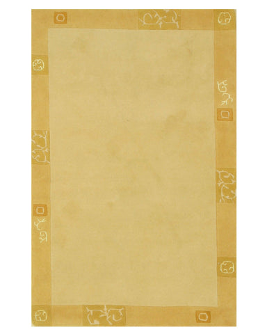 Hand-knotted Wool Beige Transitional Solid Nepalese Rug (3'11 x 5'11)
