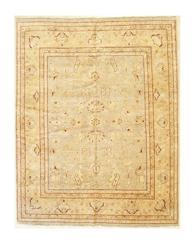 Beige/mocha Hand-knotted Wool Traditional Oushak Rug