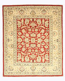 Hand-knotted Wool Red Traditional Oriental Peshawar Rug (8' x 9'7)