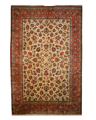 Beige Traditional Esfahan Rug, 12'7 x 18'11