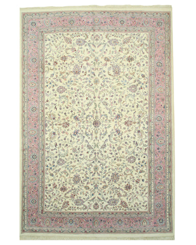 Hand-knotted Wool Ivory Traditional Oriental Kashan Rug (10'11 x 16')