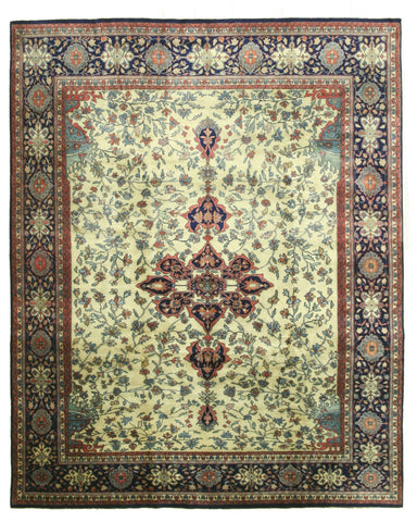 Hand-knotted Wool Ivory Traditional Oriental Mohtasham Rug (8'10 x 11'1)