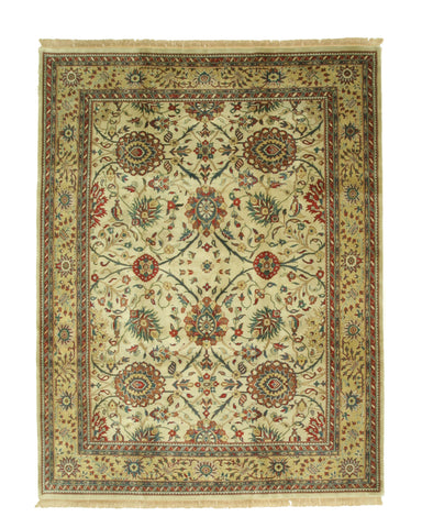 Hand-knotted Wool Beige Traditional Oriental Sarouk Rug (9'2 x 12'6)