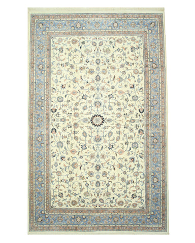 Hand-knotted Wool Ivory Traditional Oriental Kashan Rug (11'6 x 18'5)