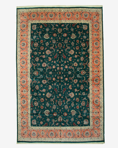 Hand-knotted Wool Green Traditional Oriental Pak-Persian Rug (12' x 18'9)