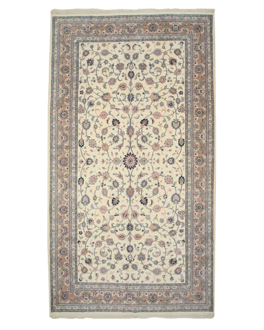 Hand-knotted Wool Ivory Traditional Oriental Kashan Rug (10'1 x 18'3)