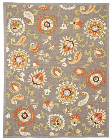 "Jaipur Living Amhurst Handmade Floral Gray/ Orange Area Rug (7'6""X9'6"")"