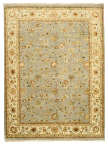 Hand-knotted Wool & Silk Blue Traditional Oriental Jaipur Rug
