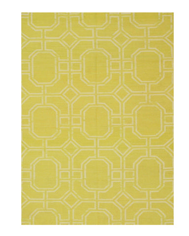 Handmade Wool Gold Transitional Geometric Reversible Modern Moroccan Kilim Rug