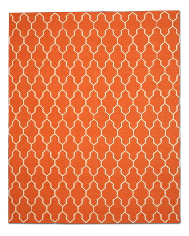 Handmade Wool Orange Transitional Trellis Reversible Modern Moroccan Kilim Rug