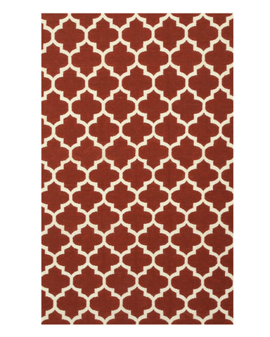 Handmade Wool Red Contemporary Trellis Flatweave Revesible Moroccan Rug