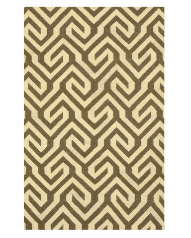 Handmade Wool Brown Contemporary Geometric Flatweave Revesible Casba Rug