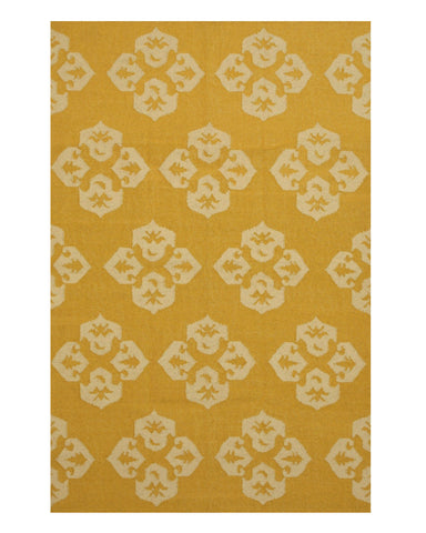 Handmade Wool Gold Contemporary Floral Flatweave Revesible Lily Rug