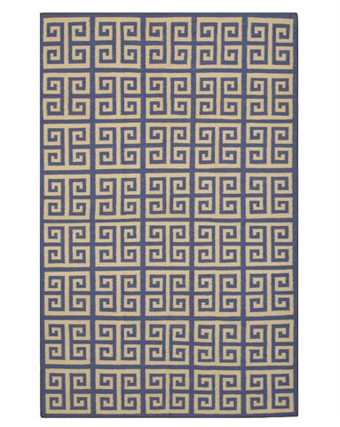 Handmade Wool Blue Contemporary Geometric Flatweave Revesible Athena Rug