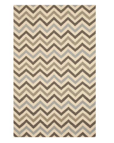 Handmade Wool Contemporary Geometric Flatweave Revesible Chevron Rug