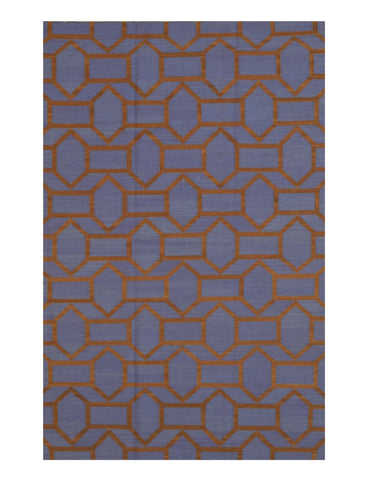 Handmade Wool Blue Contemporary Trellis Flatweave Revesible Pierce Rug