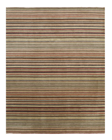 Black/Red Striped Handmade Wool Rug