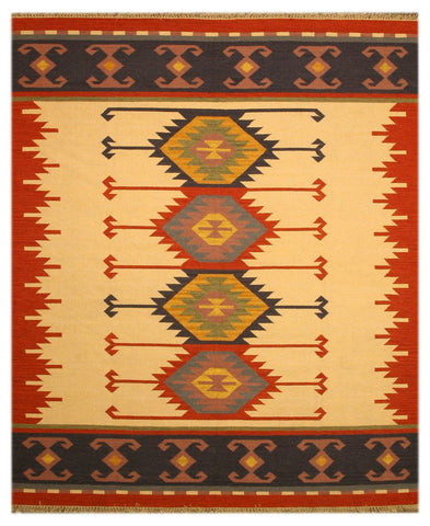 Ivory Traditional Keysari Kilim Rug