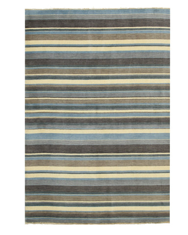 Blue/Brown Striped Handmade Wool Rug