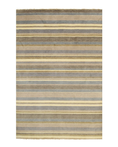 Light blue/cream Striped Handmade Wool Rug