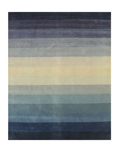 Blue/Navy Striped Handmade Wool Rug