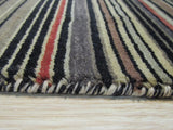 Black/Charcoal Striped Handmade Wool Rug